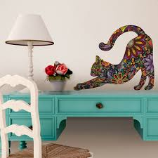 Small Picture Stretching Cat Wall Sticker Floral Cat Decal Contemporary
