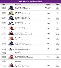 Lsu Football Schedule 2013 Lsu Football 2013 Schedule And
