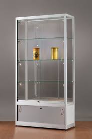 glass display cabinet 311 1000 silver with storage and side lights