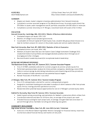 Private Equity Entry Level Chronological Resume