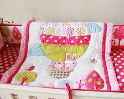 hot air balloon baby bedding stunning girl baby bedding set cotton 3d embroidery hot air balloon rabbit