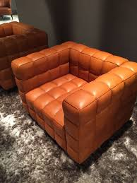 oversized armchair in brown leather