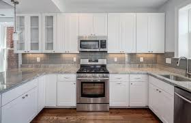 Antique White Kitchen Kitchen White Cabinets Grey Backsplash Kitchen Kitchen Cabinets