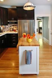small portable kitchen island. Small Kitchen Renovation -- Dark Cabinets, Light Counter Top, Movable Island Portable