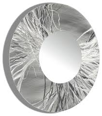 Small Picture Large Framed Round Wall Mirror Handmade Silver Modern Metal Wall