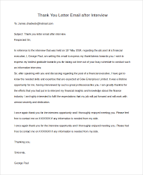 Email Thank You Letter After Interview Cover Letter Samples