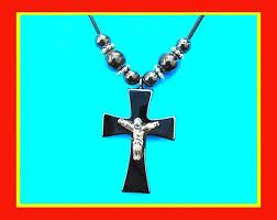 necklace hematite stone cross pendant