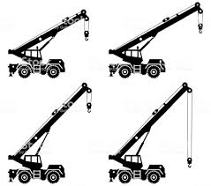 異なる位置にクレーン車を建物のシルエット特別な重機機械建設機械