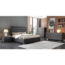 Modern bedroom furniture Classic Modrest Lucy Modern Grey Leatherette Bed Vig Furniture Modern Bedroom Bedroom