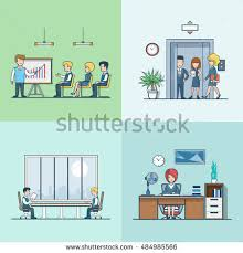 people in elevator clipart. linear flat business people at working places vector illustration set. training or report, men in elevator clipart