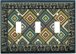 Ethnic Quilt Ceramic - Ceramic Switch Plates - Outlet Covers & ... Ethnic Quilt Ceramic 3 Triple Toggle light switch cover plates -  wallplates image ... Adamdwight.com