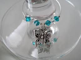 erfly and crystal bead wine glass charm