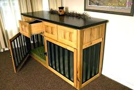 dog kennel end tables dog crate end table large pet double wooden crown  build into furniture