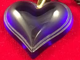 lalique france blue heart pendant authentic signed necklace glass