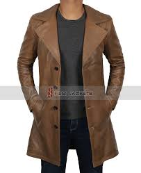 brown waxed leather coat