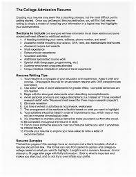 The College Admission Resume Free Download