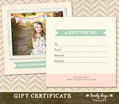 Printable Gift Vouchers Template Beauteous Photography Gift Certificate Template For Professional Etsy