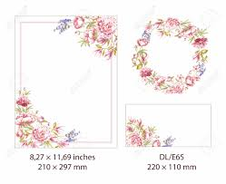 Spring Set Of Flower Frame Beautiful Rectangle Border With Blooming