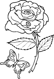 Small Picture Rose and Butterfly Coloring Page Download Print Online