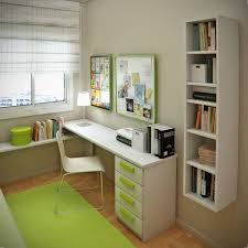 bedroom floating white wooden books shelves placed on the cream wall combined with white wooden