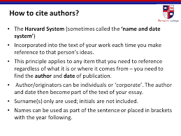 "harvard referencing"" ppt  how to cite authors the harvard system sometimes called the and date system"