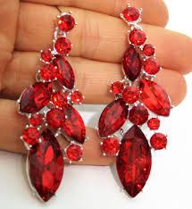 chandelier earrings rhinestone bridal prom pageant austrian crystal 2 8 inch red