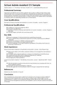 Best Resume For Administrative Assistant School Admin Assistant Cv Sample Myperfectcv