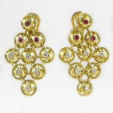 contemporary approx 60 carat diamond ruby and 18 karat yellow gold chandelier earrings by kodner galleries bidsquare