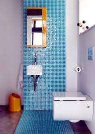 bathroom with blue mosaic tiles