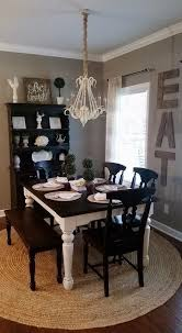 rustic farmhouse dining room home decor chalk painted dining table black distressed hutch jute rug eat sign