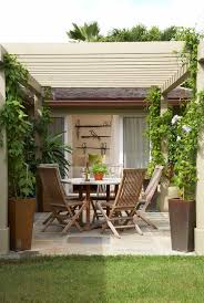 backyard patio covers wooden round table tall back chairs plant centerpiece climbing vines wall decoration concrete