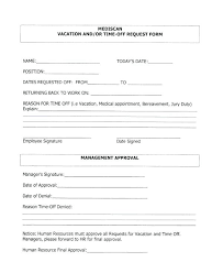 Free Vacation Time Off Request Form Time Off Request Forms