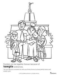 Small Picture Coloring page for Primary class Family at the Temple LDS Mormon