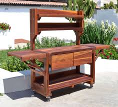 Potting Benches Redwood Potting Bench Custom Outdoor Wood Bench