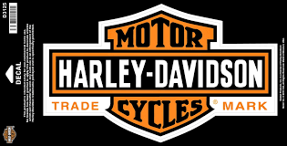 harley davidson long chrome bar and shield decal large orange d3125