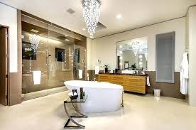 design style guide examples master bathroom with glass chandelier above cornered bathtub and modern vanity cabinet bathrooms contemporary bath