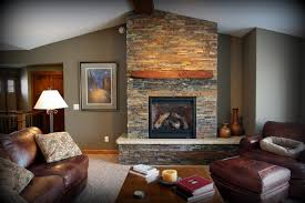 Open Stone Fireplace Interior Awesome Natural Stone Corner Fireplace With Chic White