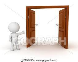 open double doors clipart. Modren Doors 3D Character Showing Open Door With Double Doors Clipart I
