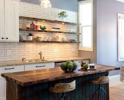 Exquisite Kitchen with Wooden Shelves, LED Lighting and Rustic Island Ideas