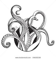 Small Picture Vector Black and white line drawing of Tentacles Line drawing