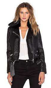 belted leather biker jacket with dyed rabbit fur collar