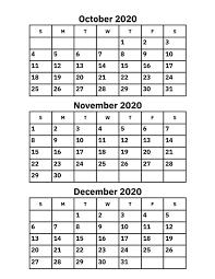 October November And December 2020 Calendar Printable