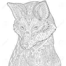 Gestileerde Vos Wolf Of Hond Geïsoleerd Op Een Witte Achtergrond