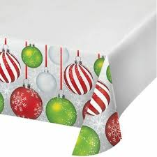 Christmas Ornaments Border Holiday Ornaments Red Green Silver 54 X 102 Plastic Tablecover Border Print Ebay