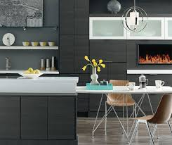 contemporary kitchen design. Contemporary Kitchen With Woodgrain Laminate Cabinets In Obsidian Design E