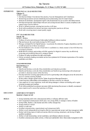 Lead Recruiter Resume Samples Velvet Jobs
