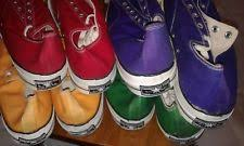 converse vintage shoes. 4 pr converse usa - red, green, purple \u0026 yellow chuck taylor all stars sz 17 vintage shoes