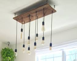 edison pendant lighting. Rustic Dining Chandelier Wood Lighting 10 Edison LED Vintage Bulbs Pendant Lights Reclaimed H