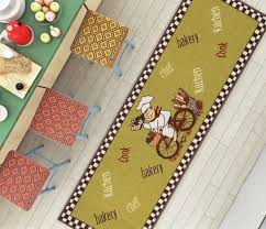 Rubber Backed Kitchen Rugs Bicycle Baker Green Gourmet Chef Kitchen Mat Non Slip Machine