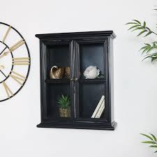 rustic black glass wall cabinet flora